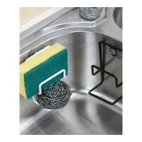 厨房水槽海绵收纳沥水架挂袋洗碗抹布沥水篮置物架铁艺壁挂架层架 黑色