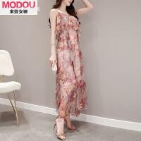 雪纺吊带碎花连衣裙女装夏天新款韩版显瘦沙滩裙波西米亚长裙 红色印花