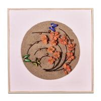 墙面装饰实木框立体花艺壁饰挂件新中式手工麻绳客厅卧室背景挂画