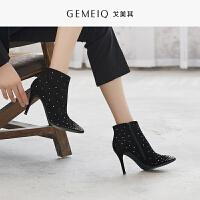 戈美其冬季新款时尚保暖加绒短靴水钻尖头细跟高跟女鞋时装鞋短靴