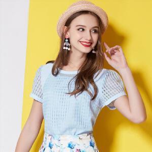 欧莎夏季泡泡袖圆领女装直筒新款单件格子新品雪纺衫SV515014