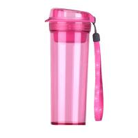 特百惠水杯 晶彩400ml随手杯子塑料便携防漏创意学生男女时尚茶杯柔桃粉