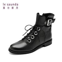 【全场3折】莱尔斯丹 欧美圆头低跟绑带侧拉链女靴马丁靴 8T37401