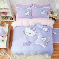 韩版床罩床裙四件套公主儿童绣花可爱猫卡通被套1.5/1.8m床上用品
