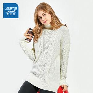 [每满150减30]真维斯女装 冬装新款 中长款宽松长袖毛衣