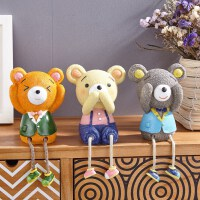 创意家居装饰品客厅小摆件工艺品可爱吊脚娃娃浴室房间卧室内摆设装饰摆件 吊脚娃娃 三只小熊