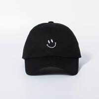 2018年新款ulzzang韩国风学院风休闲笑脸杨幂同款鸭舌棒球帽 黑色 现货 可调节54-58cm