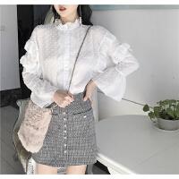 春季韩国chic甜美花边立领蕾丝花边领口单排扣喇叭袖木耳边衬衣女 白色 均码