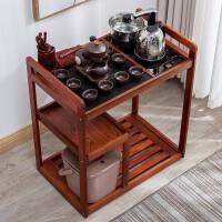 移动茶几小茶桌禅意实木泡茶桌家用实木茶车移动小茶台乌金石茶盘全自动茶具套装家用客厅茶桌茶水柜 组装