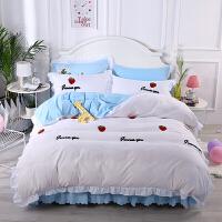 床上用品床裙四件套网红款ins全棉纯棉床罩式公主风简约花边被套4