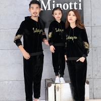 亲子装秋装韩版全家装一家三口家庭装母子母女金丝绒卫衣套装春 黑色单面绒