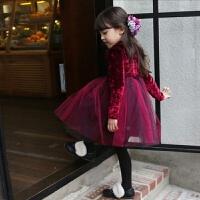 女童连衣裙秋款2017新款韩版加绒公主纱裙儿童女丝绒红色童裙子