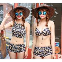 户外泳装女韩国新款清新系带露背卡通可爱沙滩温泉分体三角比基尼泳衣女
