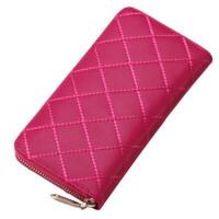 女式钱包长款拉链简约时尚牛皮菱格钱夹皮夹手拿包