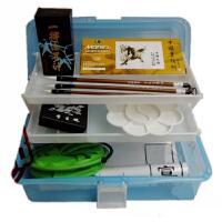 马利12色国画颜料套装 毛笔+墨汁+宣纸+颜料 9件套工具