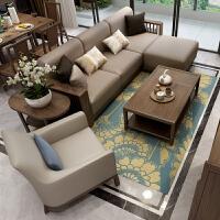 客厅胡桃木沙发组合现代简约新中式全实木家具贵妃转角沙发小户型 组合