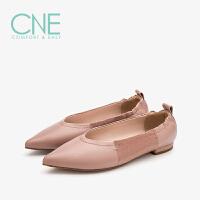 CNE2019春夏款温柔鞋船鞋尖头拼接乖乖鞋奶奶鞋女单鞋9T12502