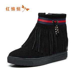 红蜻蜓女鞋2017秋冬新款时尚休闲流苏短靴舒适百搭坡跟短筒女靴子