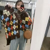 2018新款韩国chic复古纽扣V领菱形拼色格子针织衫开衫毛衣女 均码