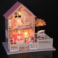 创意diy小屋粉色樱花建筑模型别墅送女朋友公主创意生日礼物