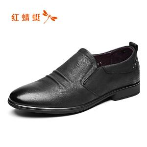 红蜻蜓男鞋2017年新款皮鞋男士休闲简约真皮套脚鞋牛皮舒适正品潮