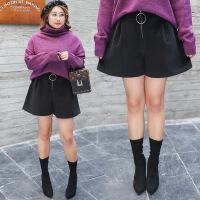 韩版时尚加肥加大码女装胖MM高腰显瘦阔腿短裤热裤靴裤女冬季新款
