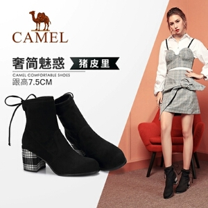Camel/骆驼2018冬季新款 个性时尚优雅气质细腻英伦风粗跟女靴
