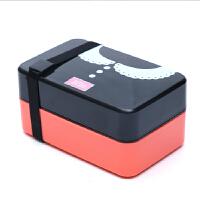 创意学生饭盒可爱便当盒可密封微波情侣配叉勺子双层分格餐盒 西瓜红