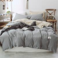 棉水洗棉床上用品四件套双拼单人双人被套床单学生三件套