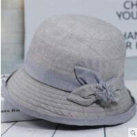 女士礼帽中老年帽子女老人盆帽妈妈优雅布老年人奶奶秋单帽