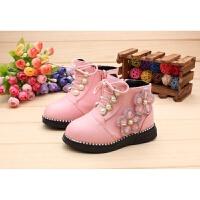 宝宝鞋女童短靴子韩版公主学步鞋小童季加绒马丁靴棉鞋1-2-3岁