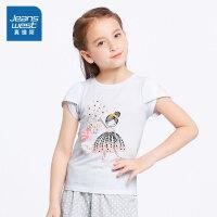 [每满400减150]真维斯女童 2018夏装新款 纯棉圆领短袖T恤