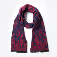 骆驼男装 冬季新款保暖围脖 长方形抽象大纹理青年通用围巾