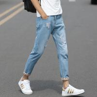 男士九分牛仔裤2018新款韩版潮流修身小脚九分裤9八分库8男生裤子