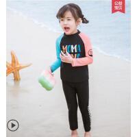 户外儿童泳衣女孩长袖分体新款防晒泳衣中大童女速干女童游泳衣男童泳衣