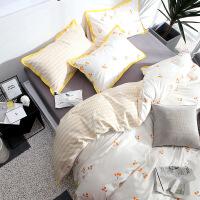 床上用品被套四件套棉纯棉北欧风少女心ins简约床单三件套1.5米