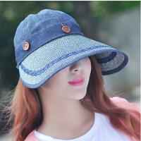 韩版大沿空顶防晒帽 可折叠太阳帽 女士遮阳帽子 防紫外线凉帽