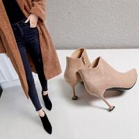 小跟短靴高跟鞋女冬猫跟2018春秋新款尖头中细跟加绒短筒女鞋子33