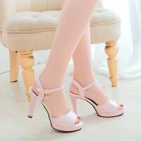 夏季韩版时尚鱼嘴少女高跟鞋女鞋子细跟一字新款chic凉鞋女