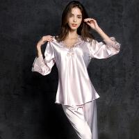 性感睡衣女夏冰丝两件套薄款套装中袖蕾丝绸睡裙可外穿家居服 M 80-115