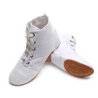 女士爵士民族舞鞋子 肚皮练功帆布芭蕾舞鞋 新款高帮大底教师鞋白色