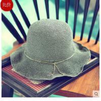 女款大沿遮阳帽子凉帽 可折叠防晒 太阳帽简约 金属链休闲草编