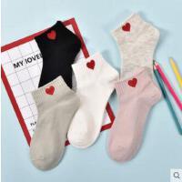 袜子女短袜纯棉浅口韩国可爱糖果色女士爱心袜硅胶防滑船袜