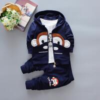 百槿 2018男童装春款大嘴猴三件套装 婴幼儿童休闲宝宝春装1-5岁卡通三件套