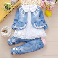 女童装0女宝宝1婴儿2衣服装女孩幼儿童3岁春装春秋牛仔三件套装潮