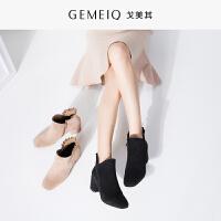 戈美其冬季新品裸靴加绒高跟鞋粗跟韩版女鞋休闲短靴棉鞋