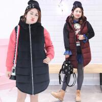 胖MM加肥加大码韩版时尚加厚连帽丝绒马甲外套拉链背心女冬季新款