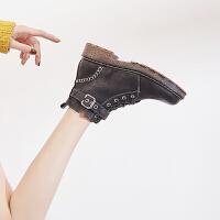 英伦风网红平底马丁靴女2018秋季新款粗跟短靴加绒棉靴子冬季女鞋