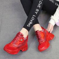 户外休闲运动鞋女 时尚内增高红色女鞋 新款亮片松糕协商 ins厚底炫彩老爹鞋