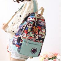 日韩版潮简约休闲学院风校园 女孩书包中学生双肩包女帆布背包